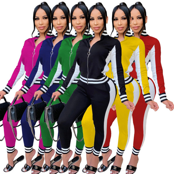 top popular Women Two Pieces Clothing Ribbon Stitching Jacket Leggings Jogging Suits zipper Cardigan long Pants Fall Winter Sportwear 2020