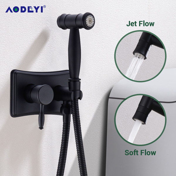 top popular Black Bidet Sprayer Toilet lavement ass hygienic portable muslim Anal Shower head Enema Shattaf Anus douche Wash Brass Tap Mixer C0127 2021