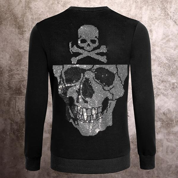 top popular NEW Sweatshirts skull print crystal Sequins Sweatshirts mens Ghost head men Top Coats Sweater Jacket Fashion Hip Hop womens Long sleeve 2020