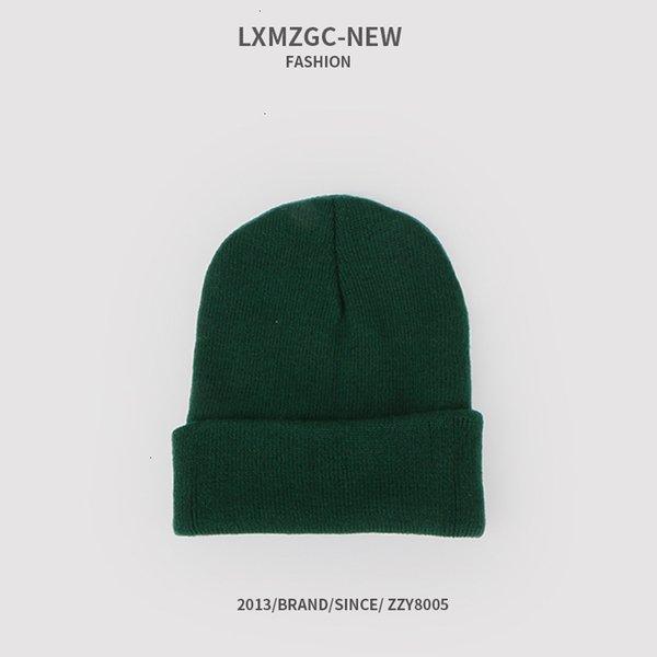 Sombrero de punto fluorescente - verde oscuro