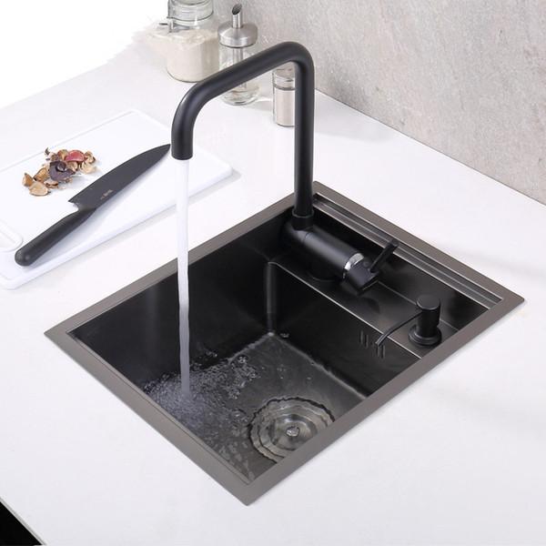 top popular black Hidden Kitchen sink Single bowl Bar Small Size sink Stainless Steel Balcony sinks Concealed black kitchen sink Bar 2021
