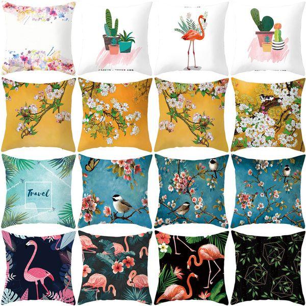 top popular Pillow Printing Ins Digital Plant Flower Car Sofa Cushion Cover Home Soft Decoration 2021