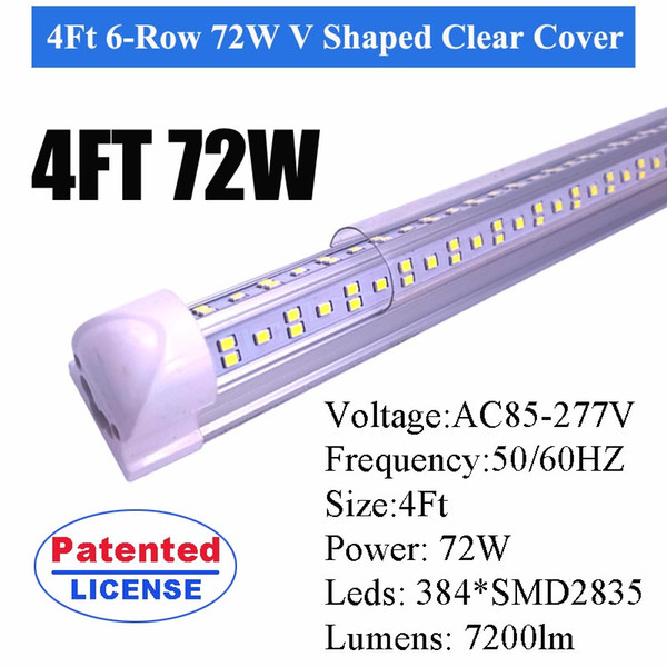 4ft Süper 72W V Temizle Kapak Şeklinde