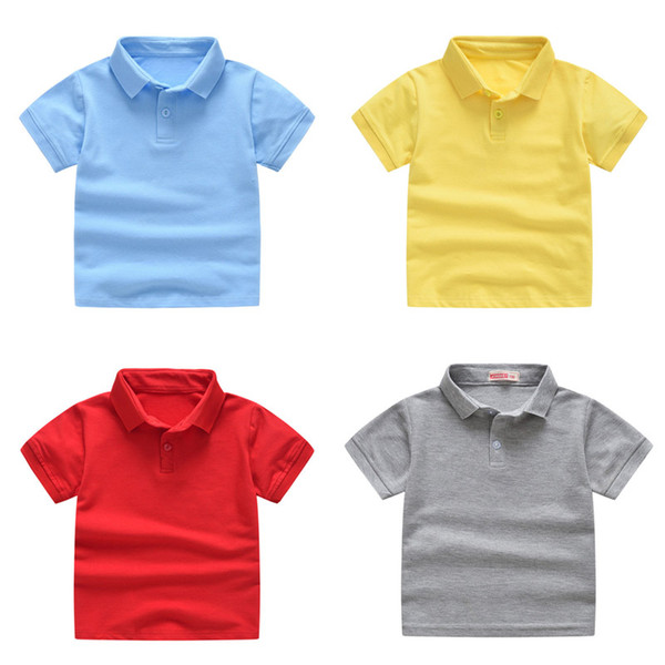 best selling Boys Solid Polo Shirts Kids Short Sleeve Tops Toddler Boys Lapel Shirts Teens Casual Clothes Kids Girls Cotton T-shirts 06210130