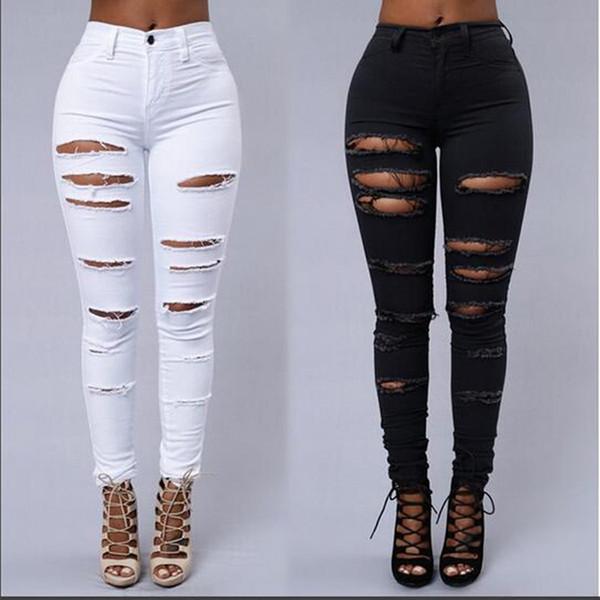 best selling Womens Jeans Denim Black Jeans Waisted Women Denim Skinny Leggings White Pants High Waist Stretch Jeans Pencil Trousers