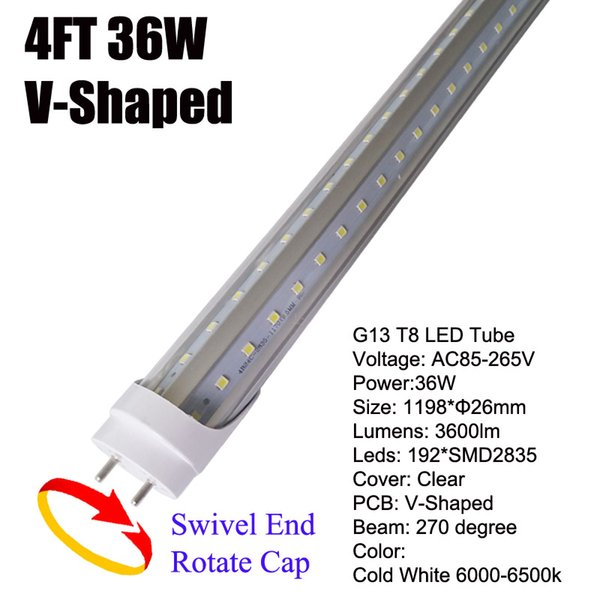 36W G13 4Ft LED Tube Clear Cover