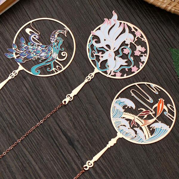 top popular Chinese Retro Peacock Koi Tassel Pendant Group Fan Shape Brass Bookmark Metal Book Clip Pagination Mark 2021