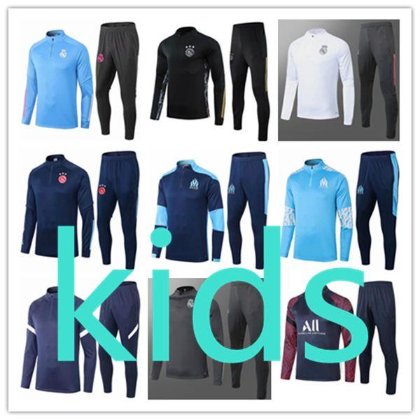 best selling 2020 2021 kids football kits 20 21 soccer jersey training boys tracksuit real madrid kit chandal survetement foot fc Barcelona ajax jogging