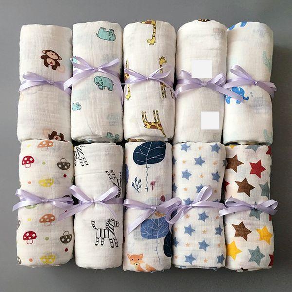 best selling Muslin Baby Blanket Cotton Newborn Swaddles Bath Gauze Infant Wrap Kids Sleepsack Stroller Cover Play Mat 78 Designs 50pcs YWY1387