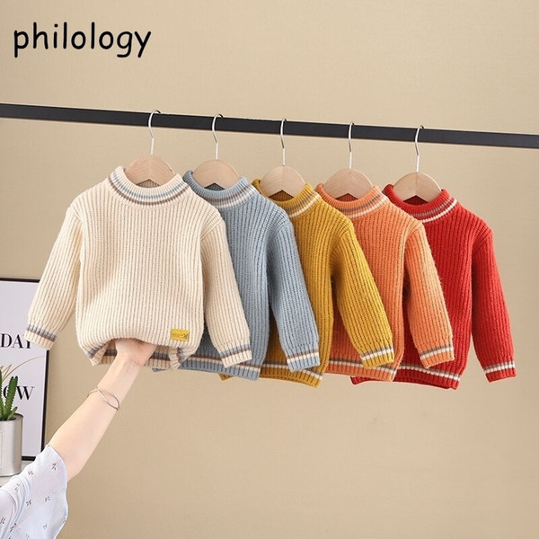 best selling PHILOLOGY pure color fall winter boy girl kid thick crew neck shirts solid long sleeve pullover sweater LJ201130