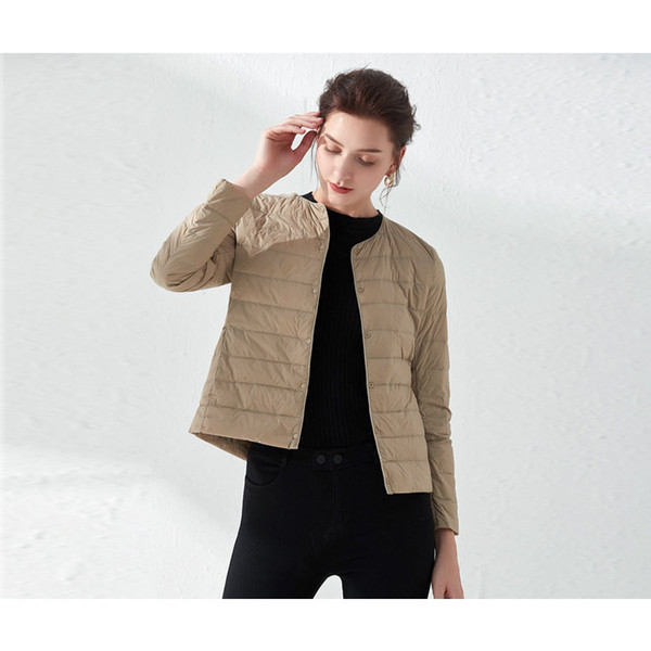 top popular Womens Down Parkas Fashion Solid Color Down Coat Thin Girls 2020 New Fashion Jackets Casual Womens Winter Tops 9 Colors Asian Size 2021
