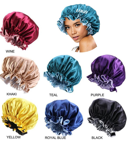 top popular Fast Shipping 7 Colors New Silk Night Cap Hat Double Side Wear Women Head Cover Sleep Cap Satin Bonnet For Beautiful Hair Hairdressing Hat 2021