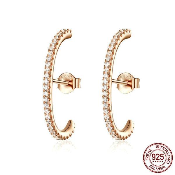 Februaryfrost Brand Minimalist 925 Sterling Silver Simple Geometric Stud Earrings for Women T Bar Line Zircon Studs Earring Wedding Jewelry