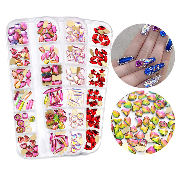 top popular 1 Box Mix Size Crystal AB Glass Rhinestones For Nails 3D Flat back Glitter Jewelry Nail Art Decorations 2021