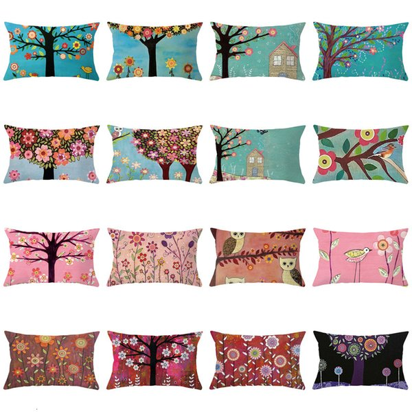 top popular Waist Plant Printed Peach Skin Velvet Pillow Case 2020 New Square Sofa Pillow Cover Bedside Pillow Cover 2021