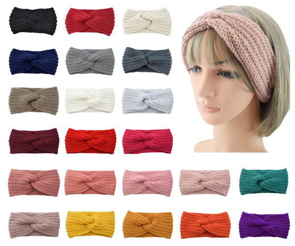 top popular 36 Colors Knitted Crochet Headband 2 in 1 scarf headband Women Winter Sports Headwrap Head Band Ear Warmer Beanie Cap Headbands 2021