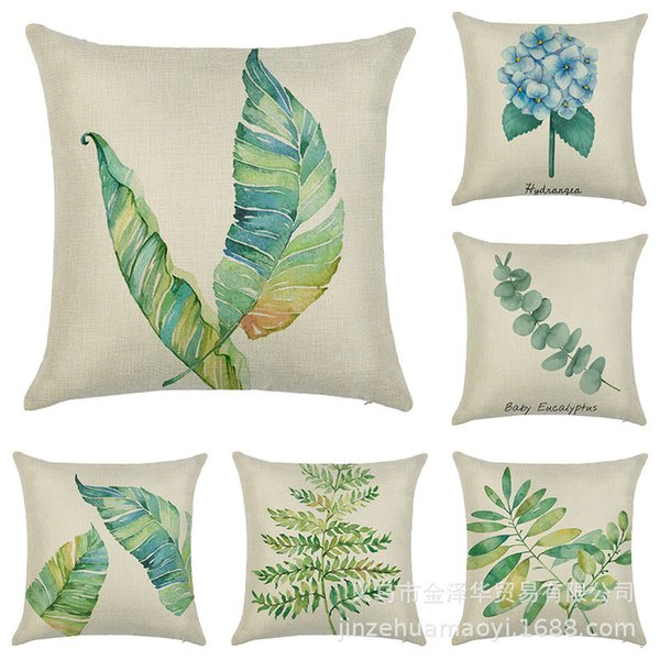 top popular Home green plants ins Nordic style car pillow cover linen sofa cushion waist pillow cover 2021