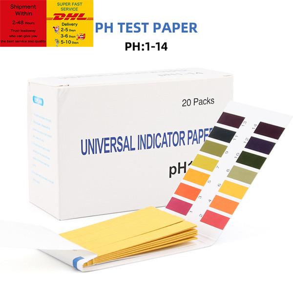 top popular 80 Strips pack PH Test Strips Full PH Meter PH Controller 1-14st Indicator Litmus Tester Paper Water Soilsting Kit Factory Free DHL Shipping 2021