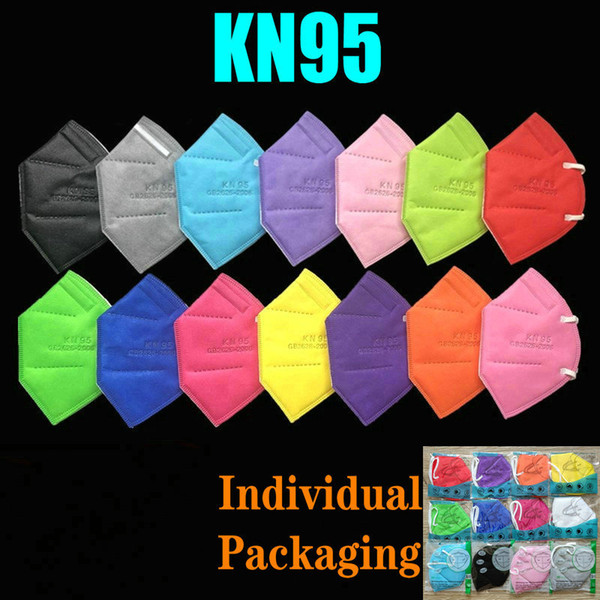 best selling 15 Colors KN95 Mask Factory 95% Filter FFP2 Colorful Activated Carbon Breathing Respirator Valve 6 layer Designer Face Shield top sale