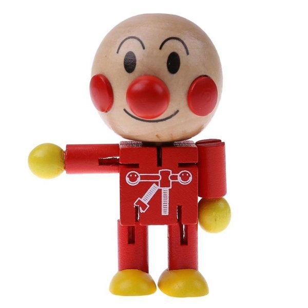 best selling Baby Wooden Toy Twistable Cute Japanese Cartoon Bread Man Doll Kids Children Partner Toy Wood Puppet Figures Action Toys