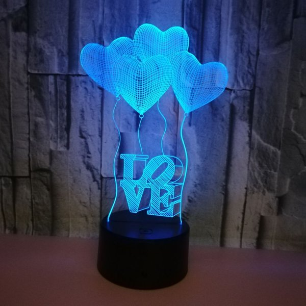 top popular 2021 New 3d Led Love Light Atmosphere Acrylic Table Creative Gift 1-999 Colorful Black Seat Touch + Remote Control Night Hd52 2021