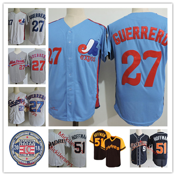 top popular Mens #27 VLADIMIR GUERRERO Montreal Expos Jersey stitched Blue White Red Royal #51 Trevor Hoffman 2018 HOF patch Jersey S-3XL 2021