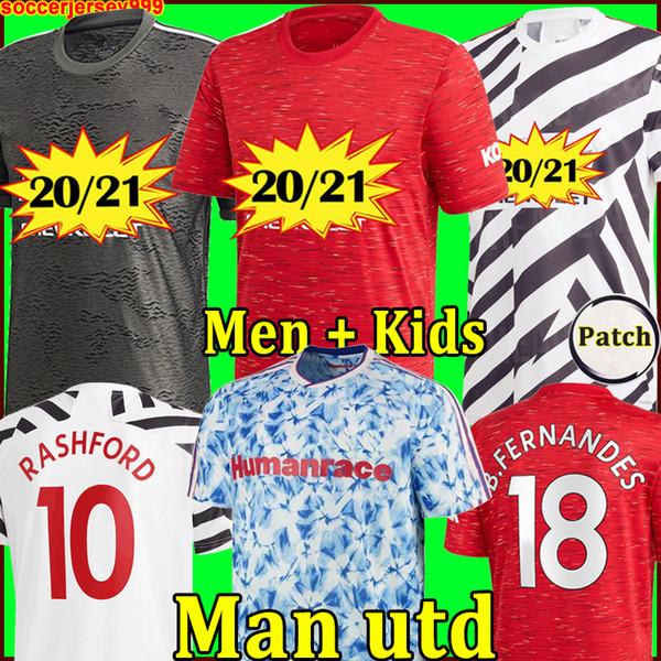 best selling Manchester 2020 2021 united UTD soccer jerseys CAVANI VAN DE BEEK B. FERNANDES RASHFORD football shirt 20 21 man + kids kit HUMANRACE fourth