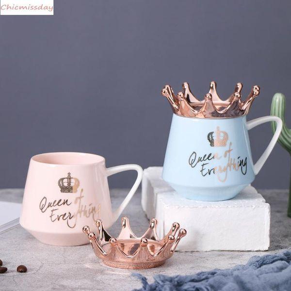 Creative Crown Ceramic Mug Pink Cute Coffee Mug Nordic Milk Cup with Spoon Lids Coffee Cup Water Mugs Holiday Souvenirs As Gift