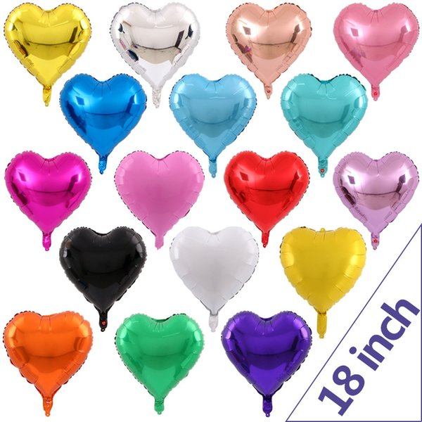 best selling Christmas decorations 18 inch Inflatable Aluminium Coating Love Heart Balloon Birthday Party gift Heart Shaped Aluminum Foil Balloon C77