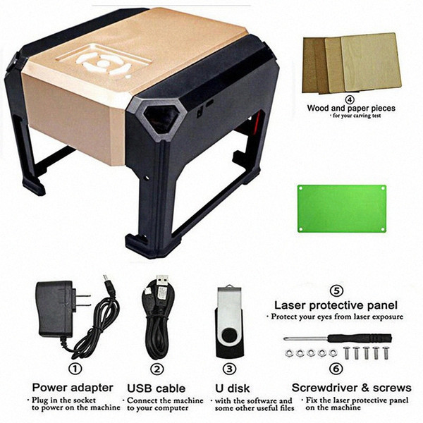best selling CNC Laser Engraving Machine Wood Router 3000MW DIY Mini Print Carving Lettering Cutter Machine 80*80mm Big Working Area Marking yD0c#
