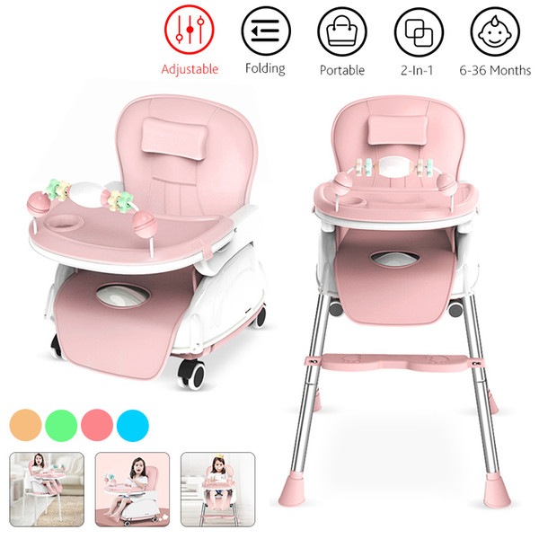 best selling 2-In-1 Adjustable Tray Foldable Portable Kids Baby High Chair Portable Multifunctional Eating Chair With Seat Wheels 6-36 Months LJ201110