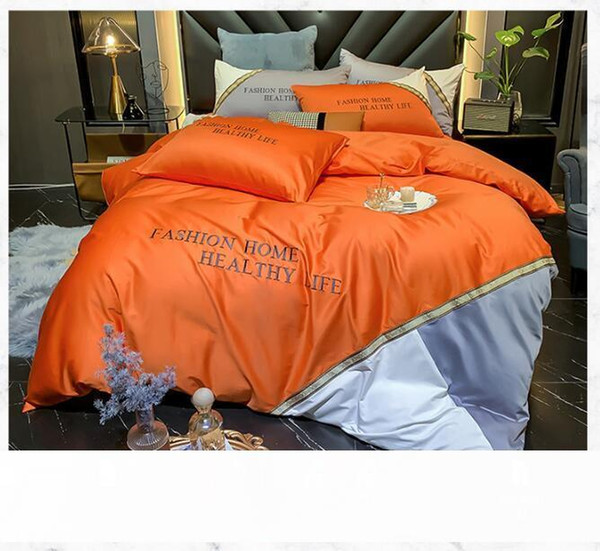 best selling 01 European modern business bedding wash silk version cotton cottonqueen Bed Comforters Sets  bedding sets Quilt cover 4 pieces suit