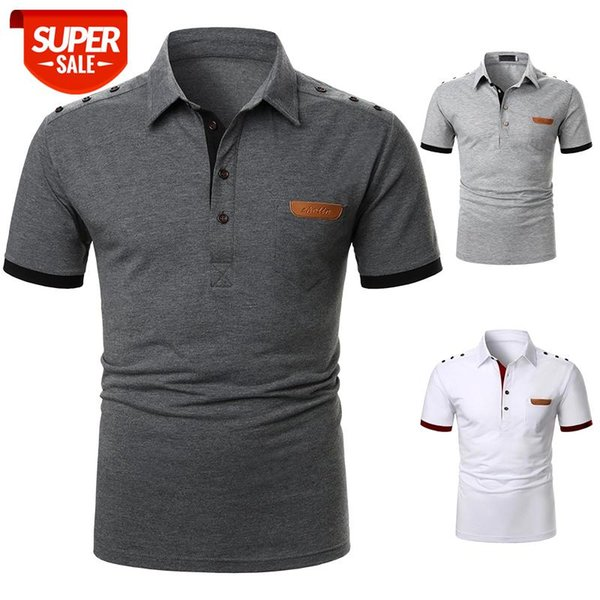top popular Men Short Sleeve T-Shirts Fashion Leather Tee Casual T-Shirts Slim Fit Turn-down Basic Summer Streetwear Casual Men top #aO0L 2021