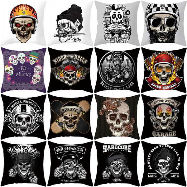 best selling Skull Ins Household Soft Decoration Cartoon Head Pillow Cover Printed Sofa Cushion Cover