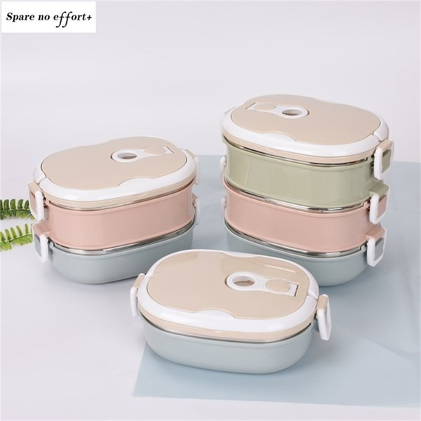 top popular Portable Lunch Box 304 Stainless Steel Lunch Boxes for Kids Adults Bento Box Leakproof Thermos Food Container Caja De Almuerzo 201210 2021