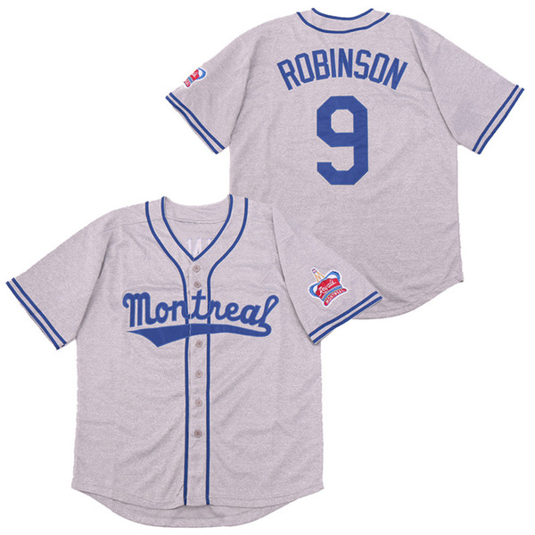 best selling Men Movie 9 Jackie Robinson Jersey the 1946 Montreal Royals Baseball Cool Base Grey Team Color Stitched Breathable Pure Cotton Top Quality