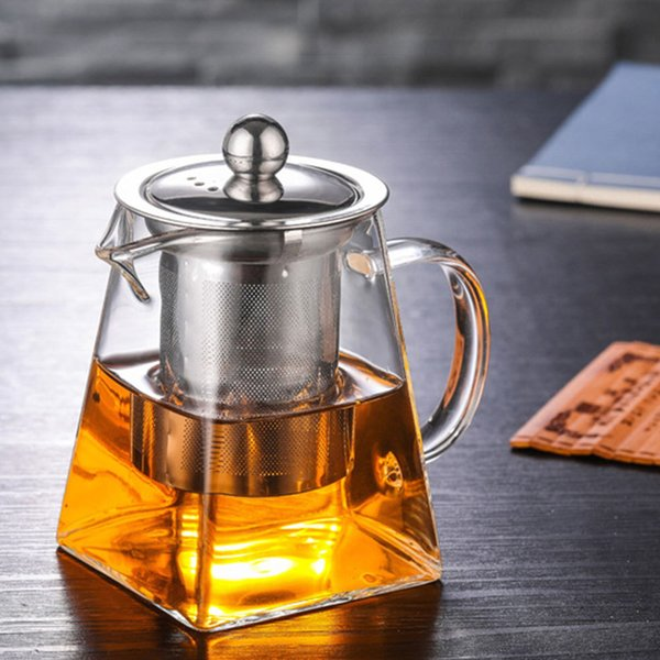 best selling 3Sizes Good Clear Borosilicate Glass Teapot With 304 Stainless Steel Infuser Strainer Heat Coffee Sqaure Tea Pot Tool Kettle Set Q1218