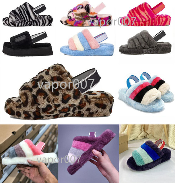top popular 2021 New Furry Slippers Australia infants fluff yeah slide Women casual shoes womens Luxury Sandals Fur Slides Slippers size 36-44 2021