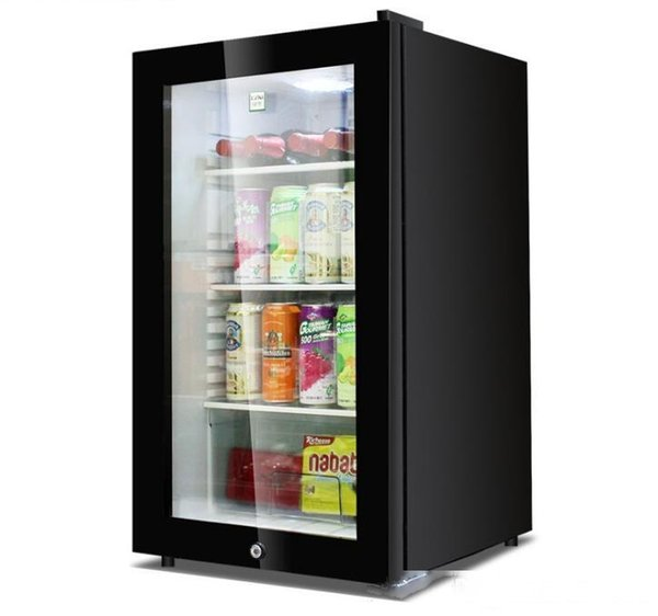 best selling 95L single door small hotel room home dual-use display fresh-keeping refrigerator tempered glass door 52.0 cm * 53.0 cm * 89.0 cm
