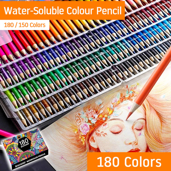 top popular 150 180 Colors WaterColor Pencils Set Wood Colored Pencil Kit Painting Gifts for Kids Adult Drawing Note School Art Supplies Y200428 2021