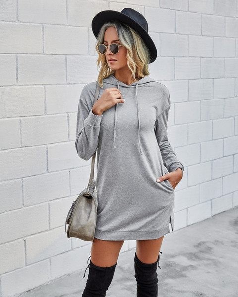 top popular winter long sleeve slim Hoodie dress fashion casual black mini skirt with cap women clothes will and sandy gift 2021