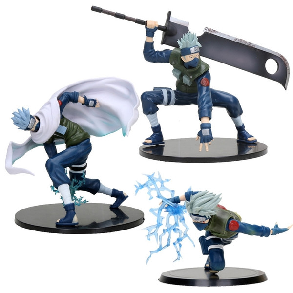 top popular 3styles 13-15cm Naruto Kakashi Thunder Action Figure Anime Figure PVC Toys Figure Model New Year Gifts Y200421 2021