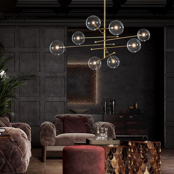 top popular EMS 2020 modern design glass ball chandelier 6 heads clear glass bubble lamp chandelier for living room kitchen black gold light fixture 2021