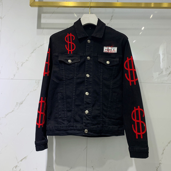 best selling Black Blue Biker Denim Jackets for Men Slim Fit Short hip hop Casual Motorcycle Casual Coats Tops Fitness clothing Embroidered letters M-3XL