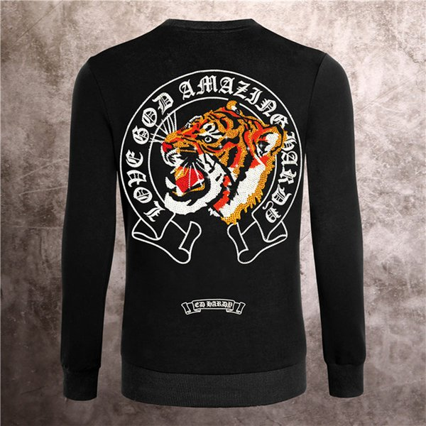 top popular crystal tiger Hoodie men Basic Solid black Skull Sweatshirts Long Sleeve Shirts Hoodies Autumn fashion clothing Printed Letter Sweater M-3XL 2020