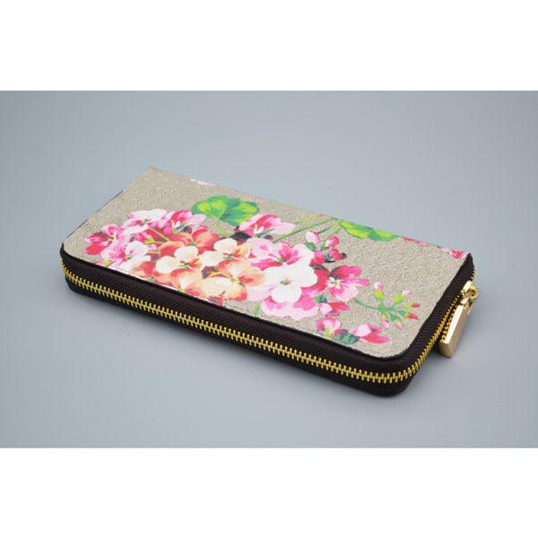 best selling Designer Ladies Geranium Print Long Zip Wallet Fashion long wallet