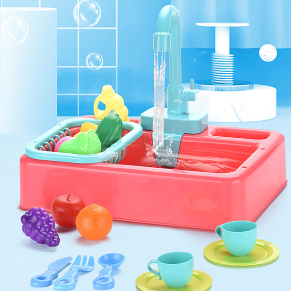 top popular Child Toys Funny Kitchen Simulation Plaything Sink Dishwashing Set Montessori Education Gift DIY Sink Wash Suit Play House Props 2021