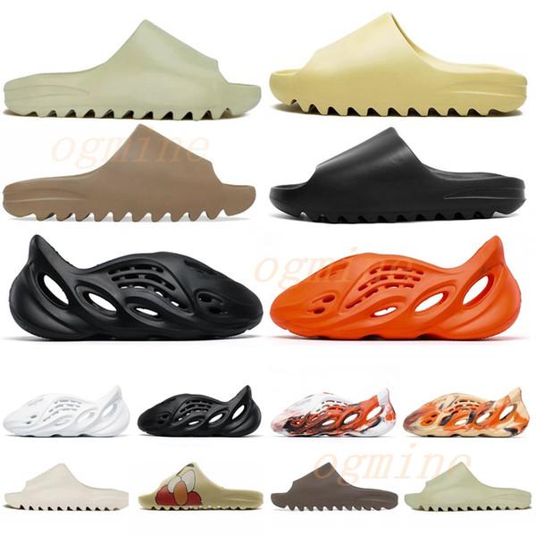 best selling [shipped within 6 days] kanye sandals shoes foam runner black west slide bone resin desert sand earth brown men womens slippers