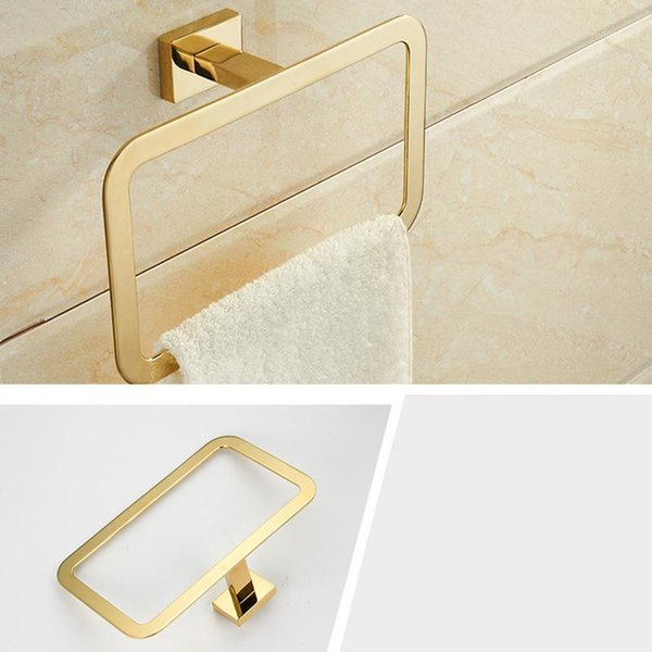 top popular Gold Towel Ring Chrome Bathroom Accessories Decoration Elegant Square Style1 2021