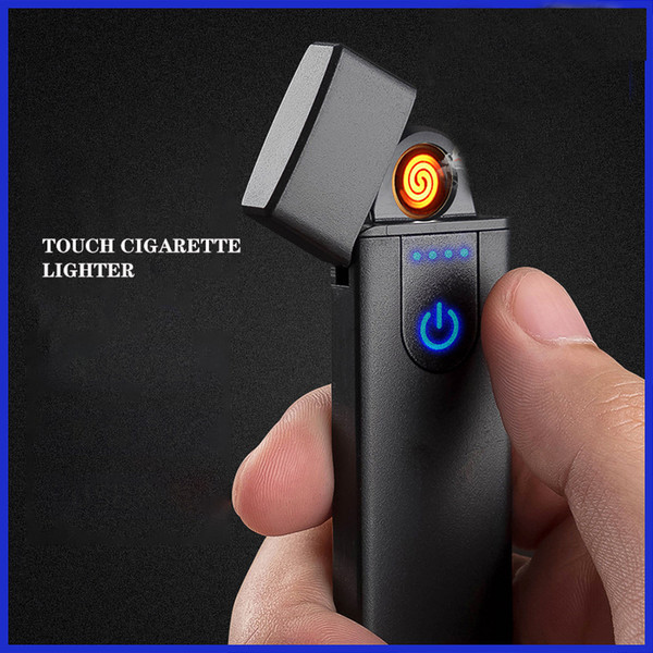 best selling Wholesale USB Rechargeable Lighters Electronic Cigarette Lighter Flameless Touch Screen Switch Colorful Windproof Lighter For Free DHL